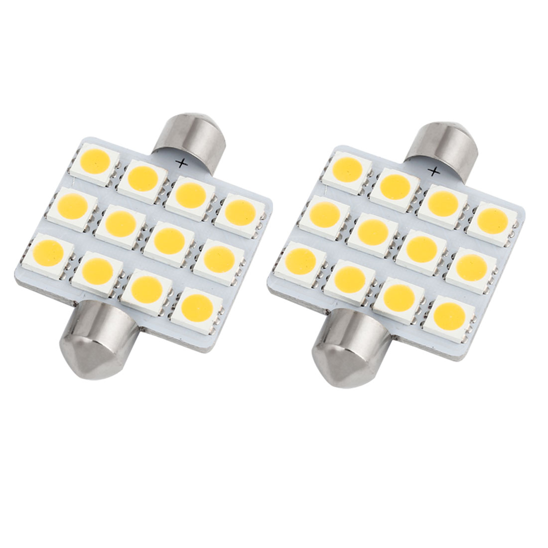 2 Pcs 41mm 12 LED 5050 SMD Warm White Festoon Map Reading Light 212 214-2 Internal
