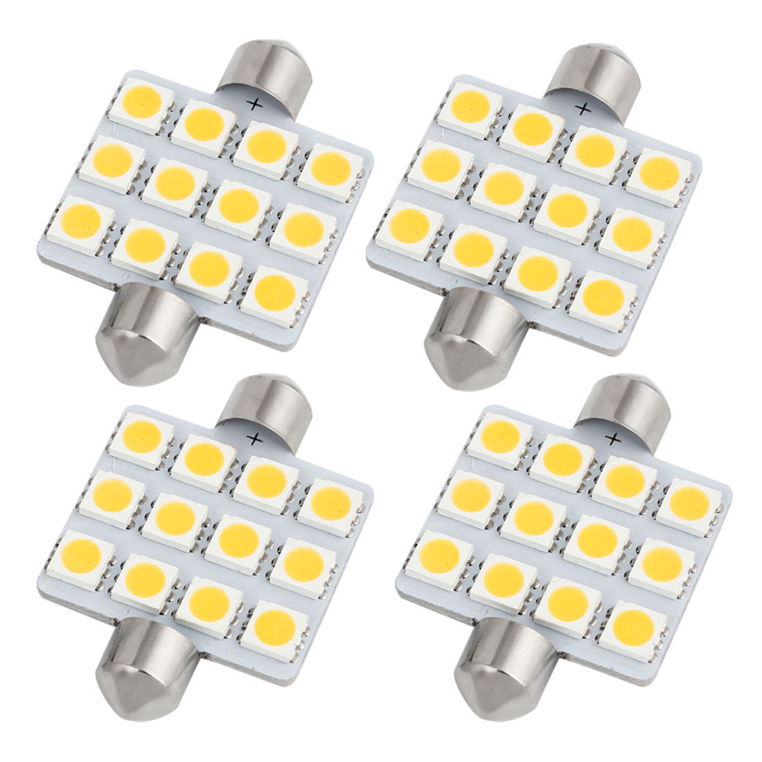 4pcs 41mm 5050 SMD 12-LED Festoon Dome Light Warm White 211 214-2 578 Internal