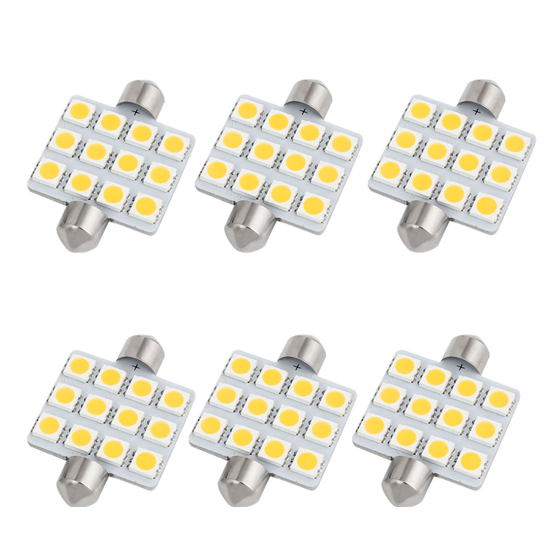 6pcs 41mm 5050 SMD 12-LED Festoon Dome Light Warm White 6429 214-2 211-2 Internal