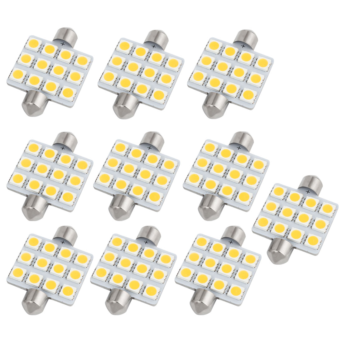 10pcs 41mm 5050 SMD 12-LED Festoon Dome Light Warm White 211 212 569 Internal