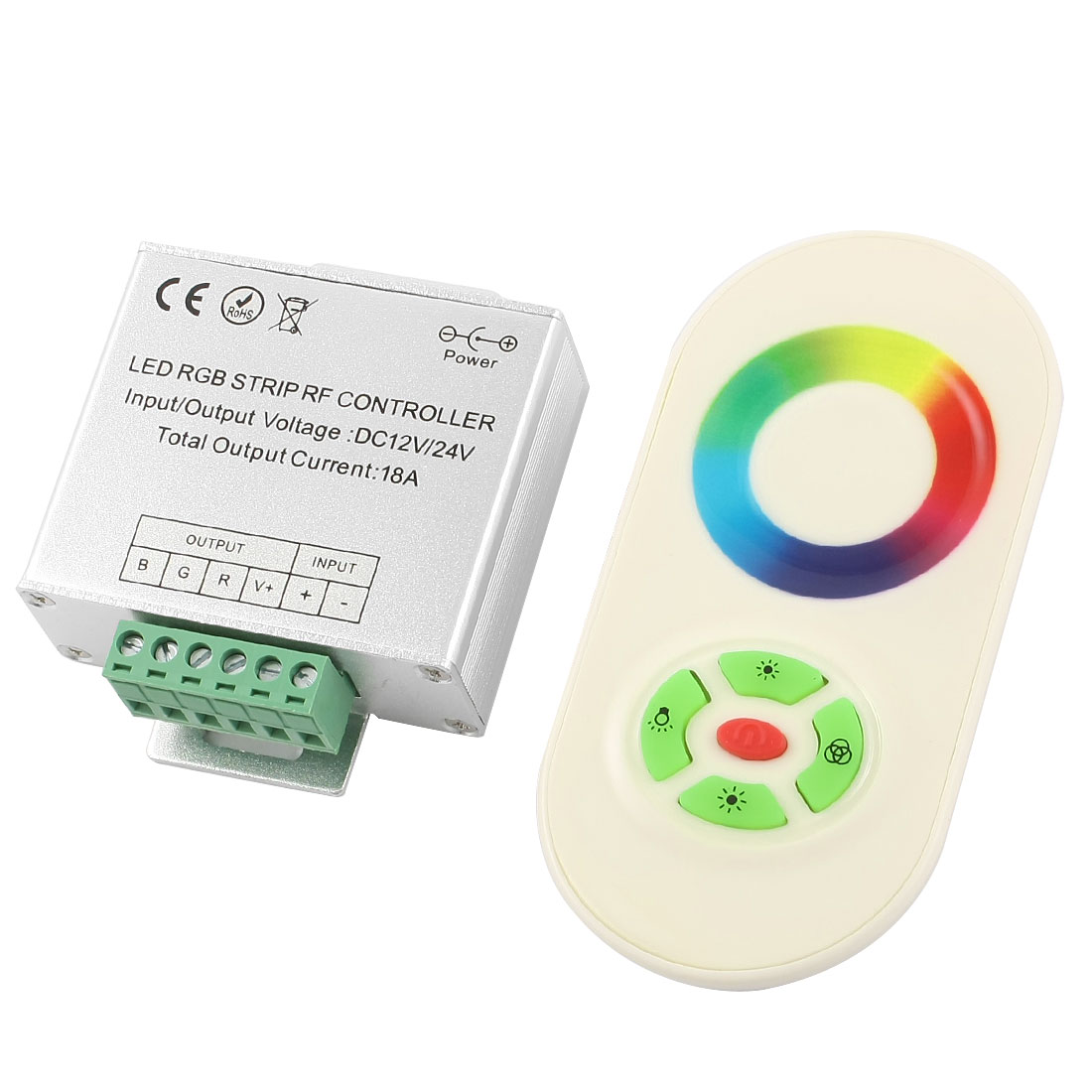DC12/24V 18A 3-CH Wireless Dimmer LED RGB Strip RF Controller