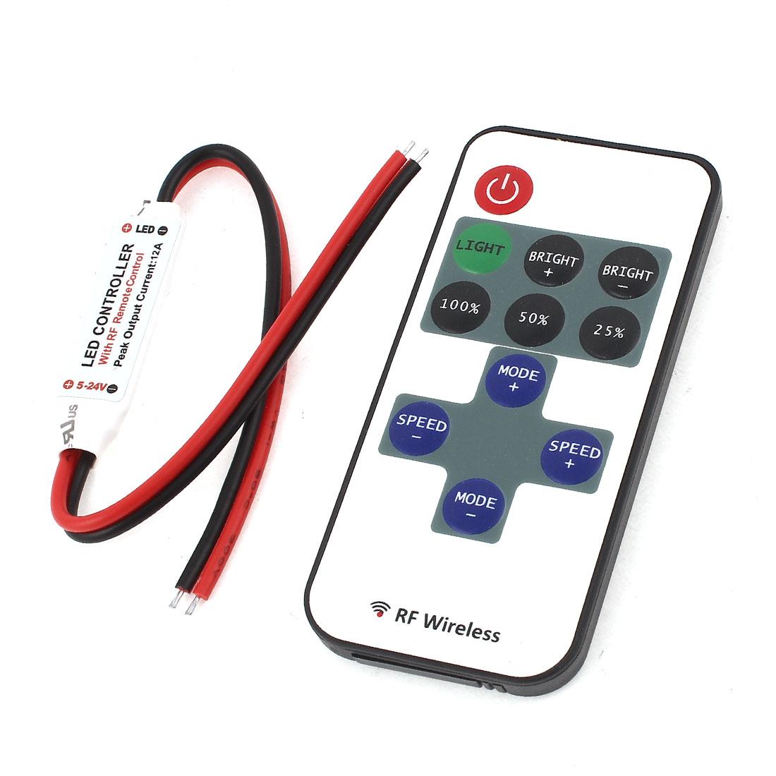 DC5-24V 433.92MHz Single Color Mini RF LED Strip Dimmer Controller Set