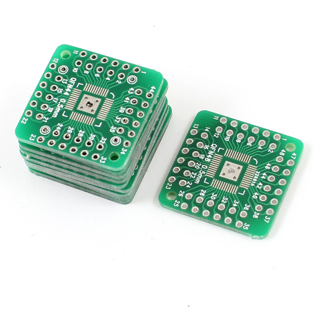 10 Pcs QFN44 to QFN48 0.5mm Pitch Double Sides DIP Mounting PCB Adapter Converter Plate Board