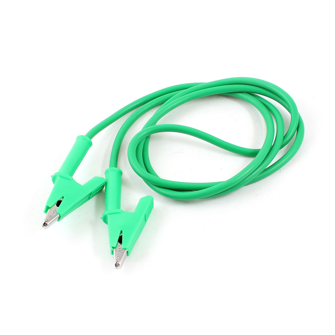 1M Long Alligator Clip Electrical Clamp Insulated Test Lead Cable Green