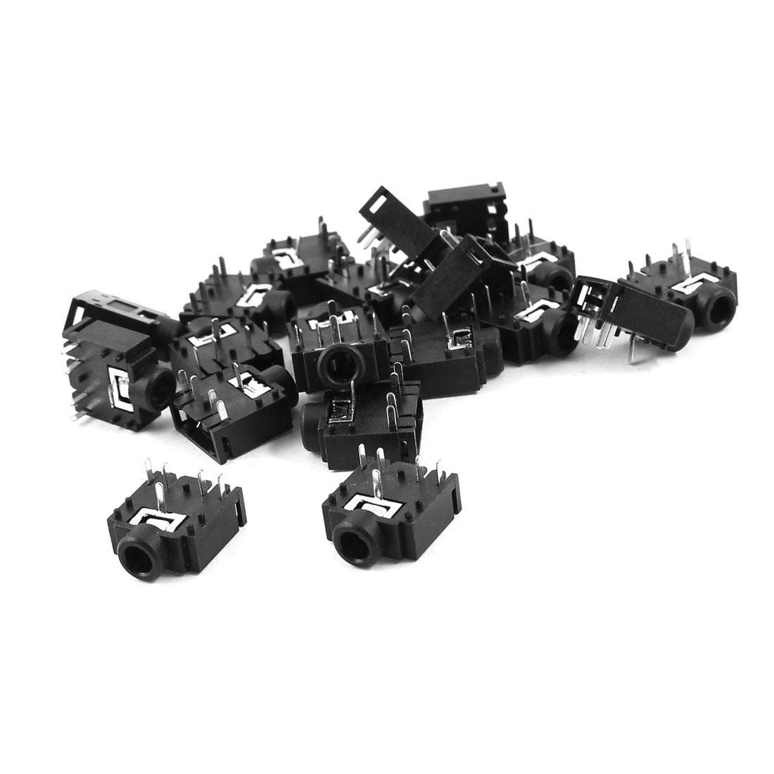 20 Pcs PCB Mount 5 Pin Terminals 3.5mm Female Audio Jack Socket Connector