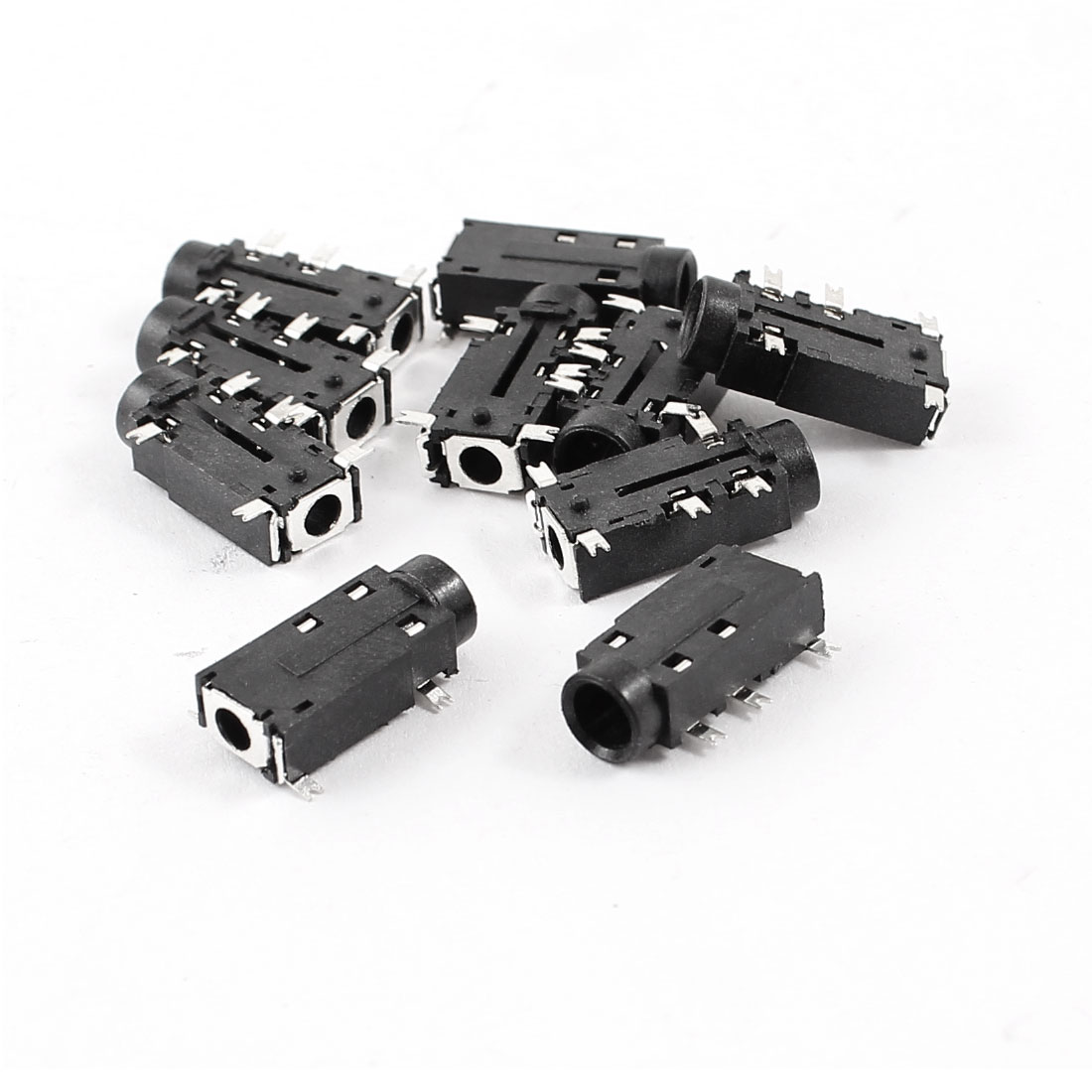 10 Pcs PCB Mount 5 Pin Terminals 3.5mm Female Stereo Audio Jack Connector