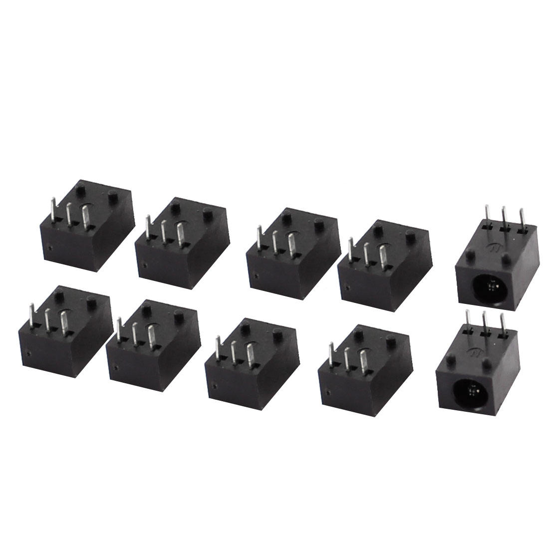 10 Pcs Black 3 Pin 3.5mm x 1.3mm DC Power Jack Socket PCB Mounting Connector