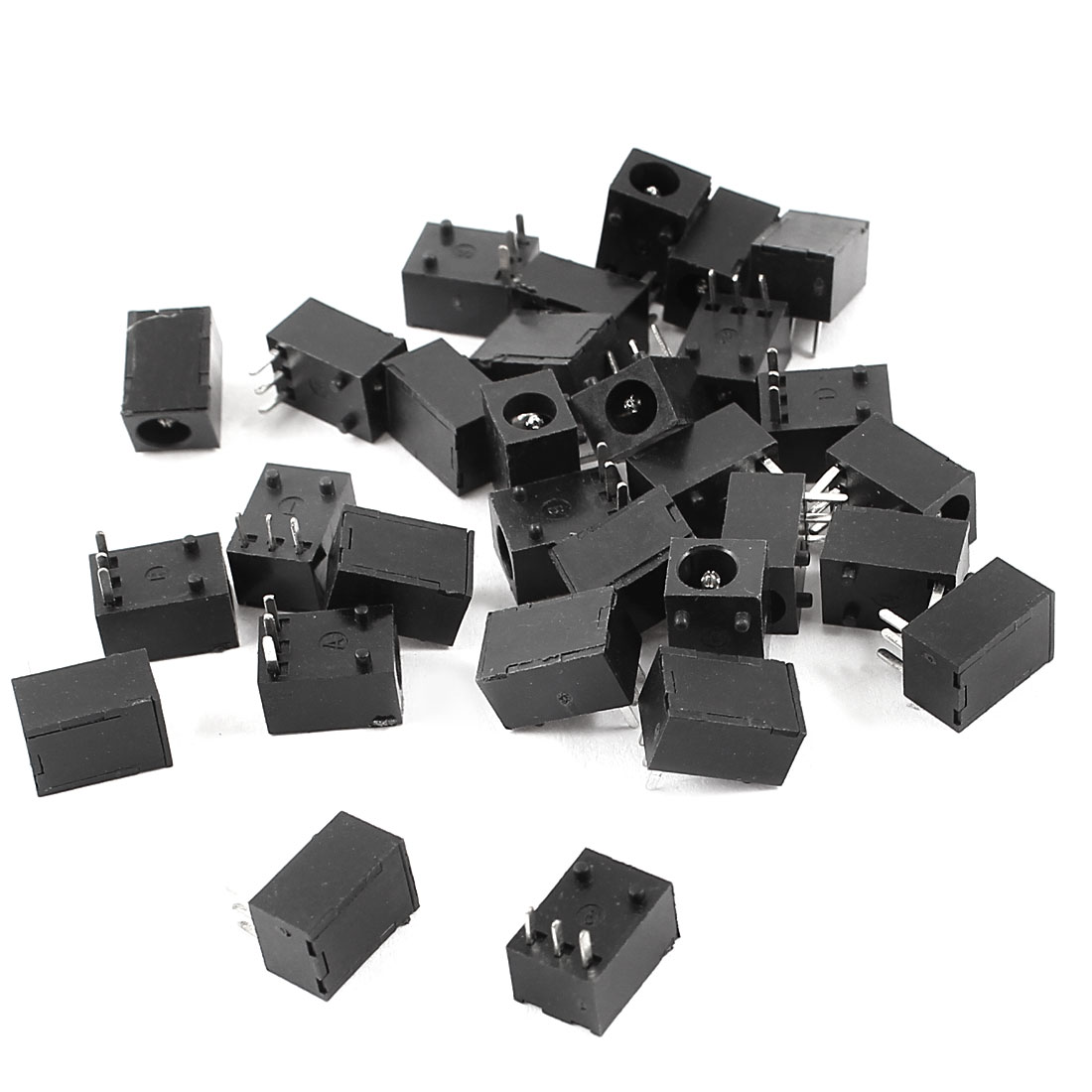 30 Pcs Black 3 Pin 3.5mm x 1.3mm DC Power Jack Socket PCB Mount Connector