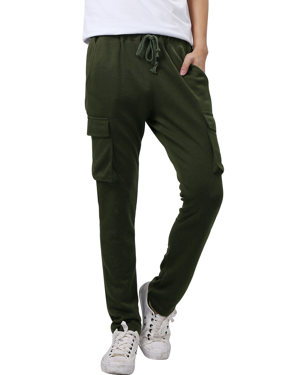 Men Elastic Waist Double Side Pockets Casual Trousers Army Green W28