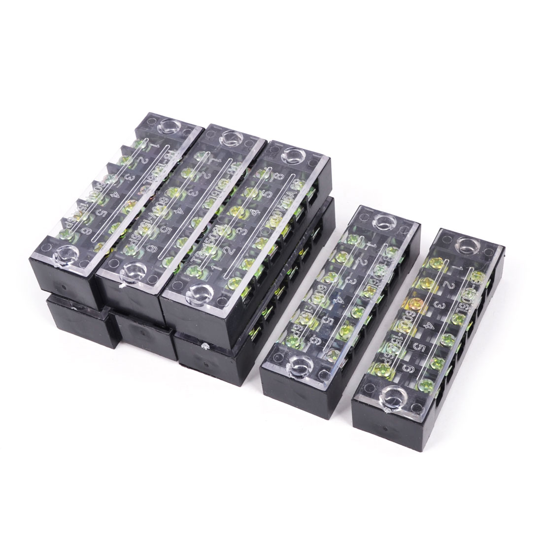 TB-1506 Dual Row 6P Screw Terminal Barrier Block Stripe 600V 15A 8Pcs