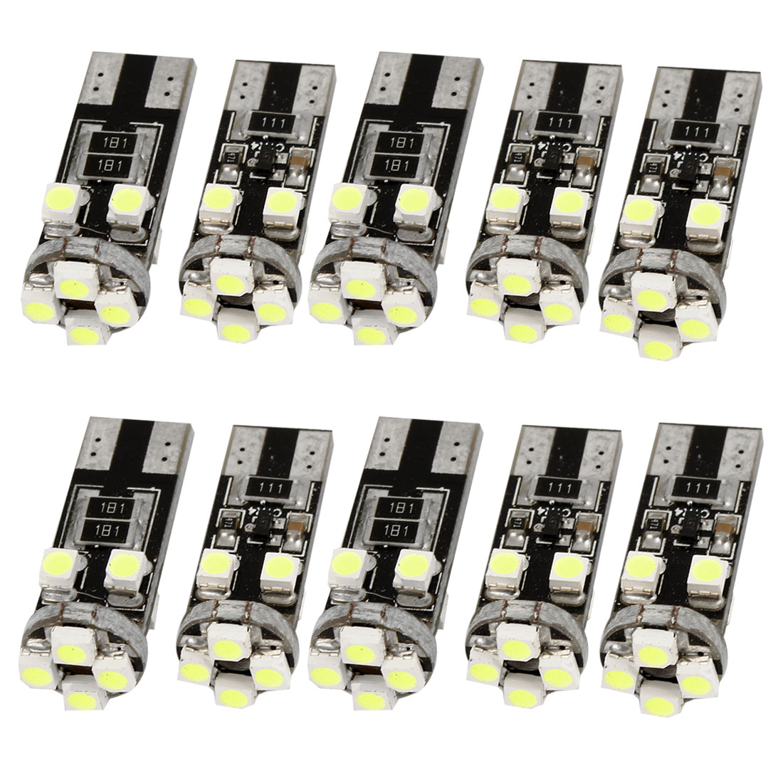 10 Pcs Canbus White T10 8 SMD 1210 Car Interior LED Light Bulbs W5W 194 168 Internal