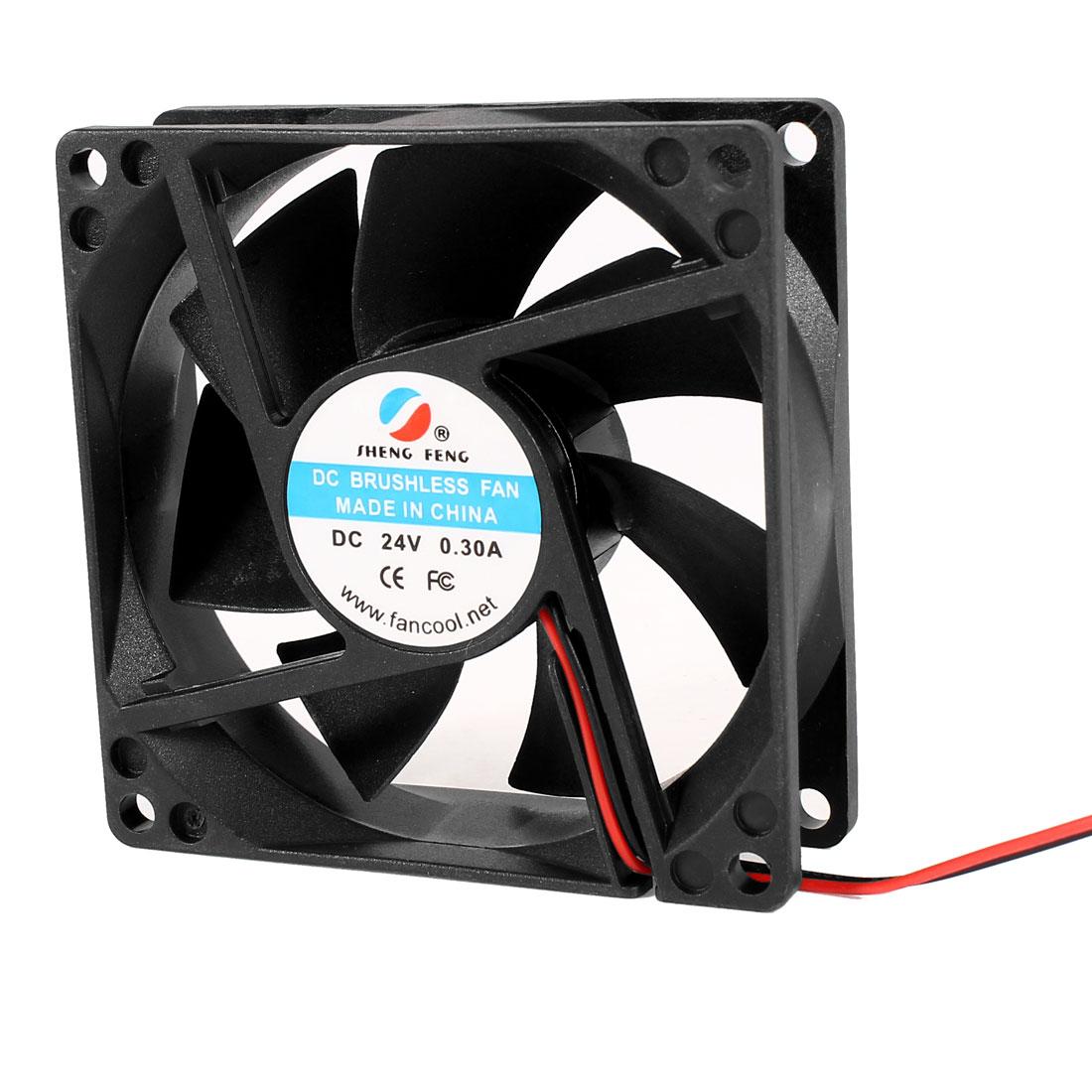 DC 24V 0.30A 80mmx25mm Cooling Fan Black for PC Case CPU Cooler Radiator