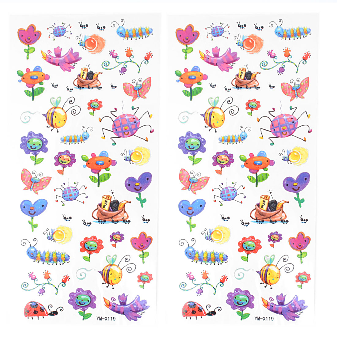 Colorful Bees Butterfly Caterpillar Ladybug Insects Pattern Temporary Tattoo Transfer Sticker 2 Pcs