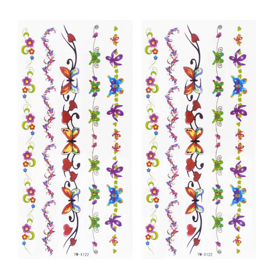 Colorful Butterfly Floral Print Temporary Tattoo Transfer Sticker 2 Pcs