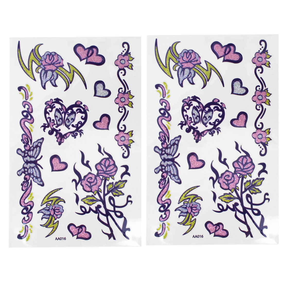 2 Pcs Skin Ornament Heart Flowers Butterfly Pattern Multicolor Transfer Tribal Tattoo Decals Stickers
