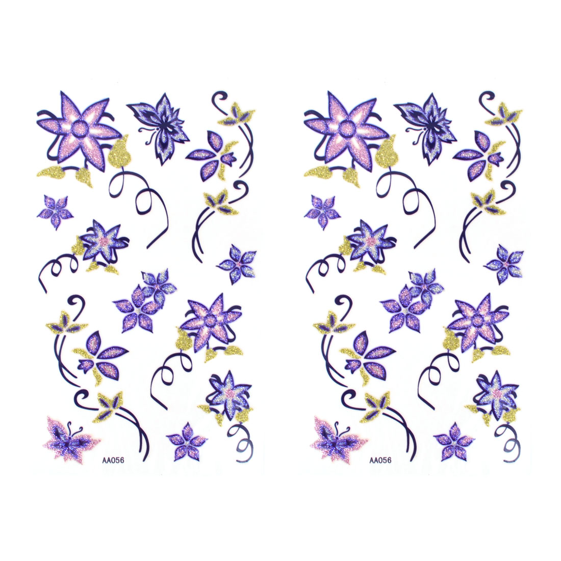 Skin Decorative Purple Butterfly Floral Pattern Transferable Tattoos Seal Beauty Decal 2pcs