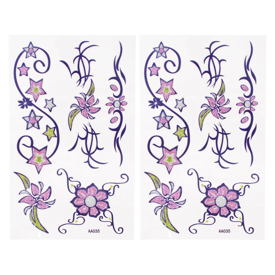 Skin Decorative Purple Flower Star Pattern Temporary Transfer Tattoos Stickers Set Beauty Tool 2pcs