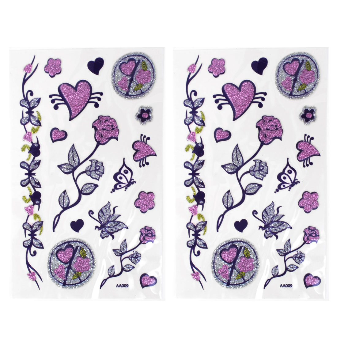 Pink Silver Gray Skin Decorative Floral Hearts Pattern Temporary Transfer Tattoo Beauty Decals 2 Pcs