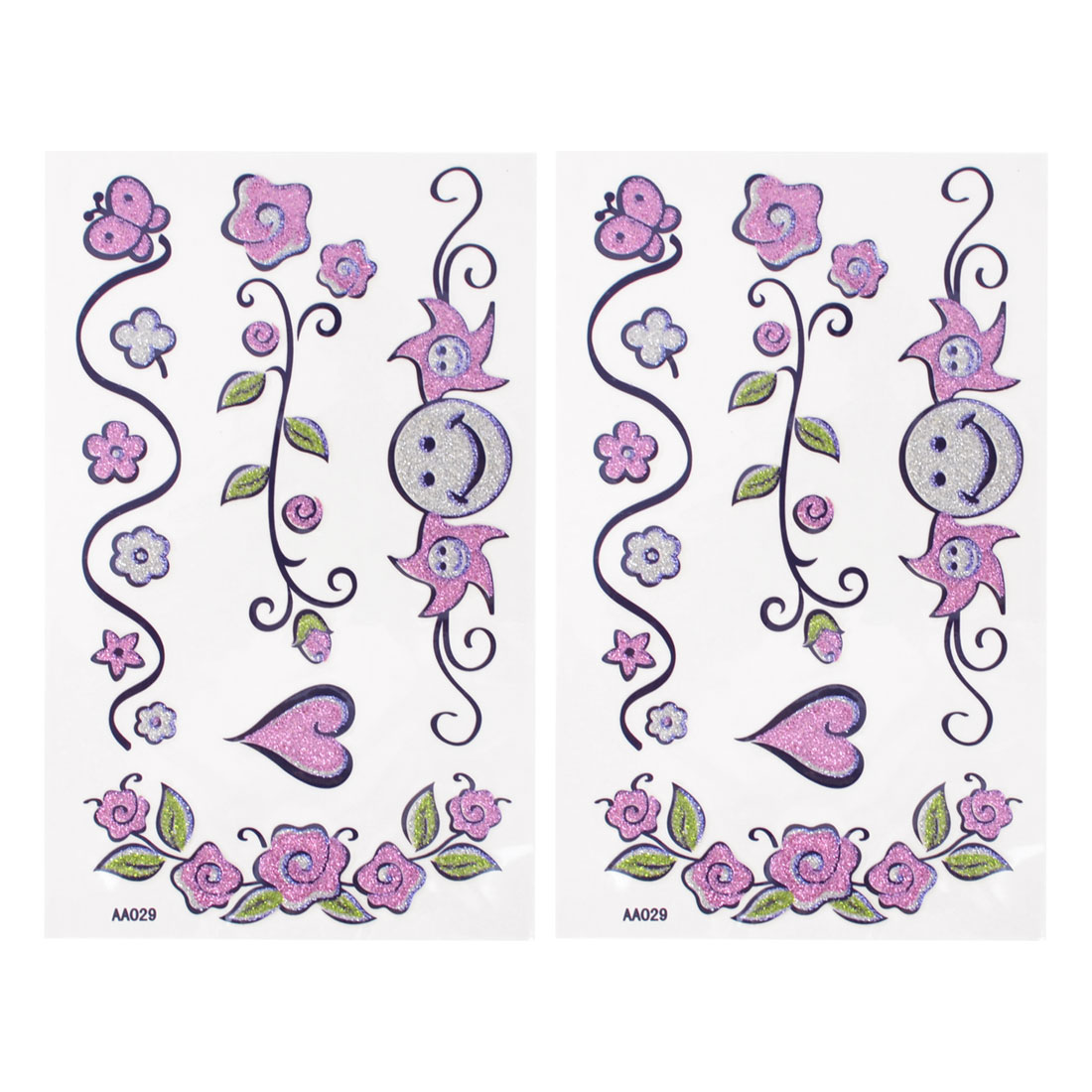 2Pcs Pink Skin Decor Tribal Flower Pattern Transfer Tattoo Beauty Decal Body Art Stickers