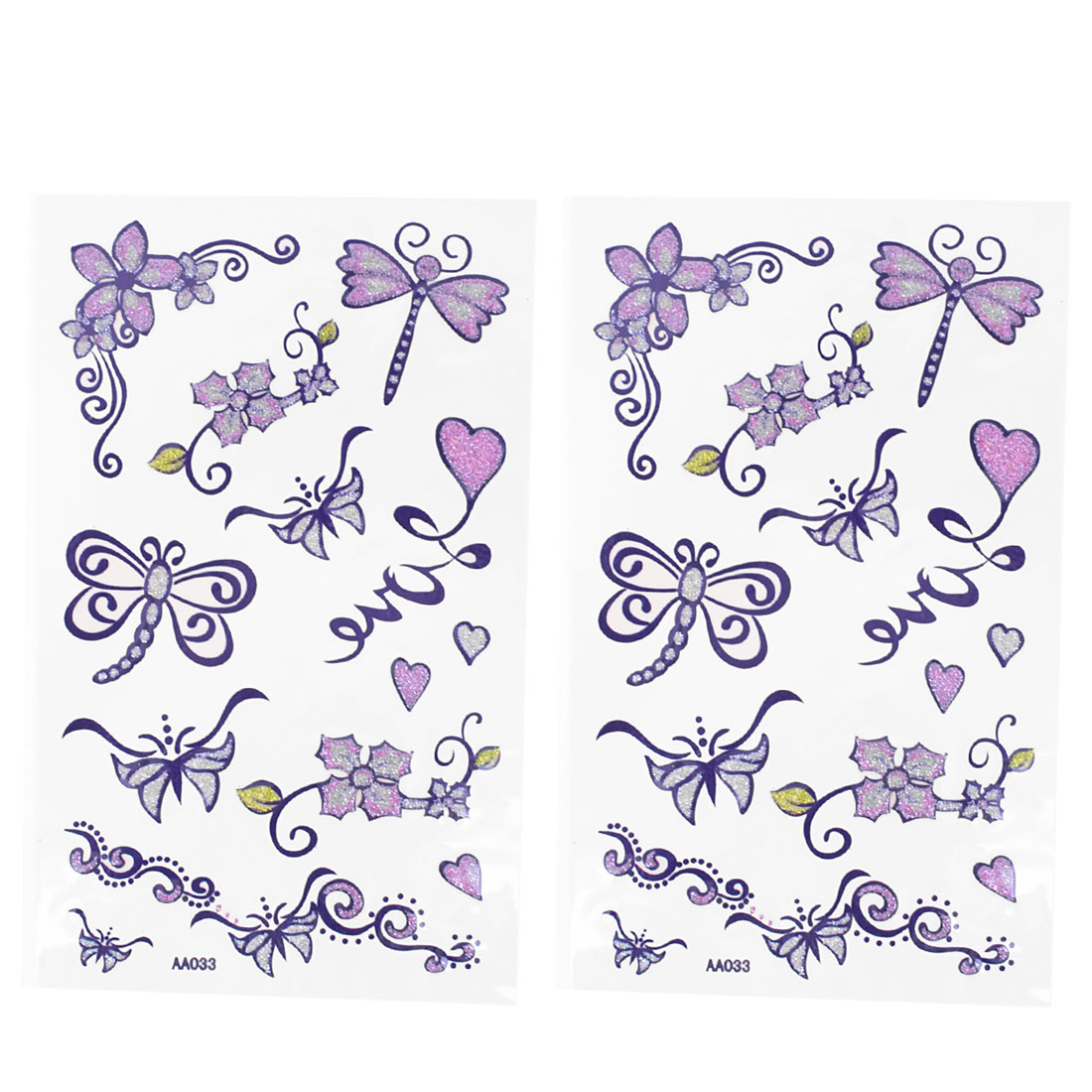 Skin Decorative Heart Floral Dragonfly Print Temporary Transfer Tattoos Stickers 2 Pcs