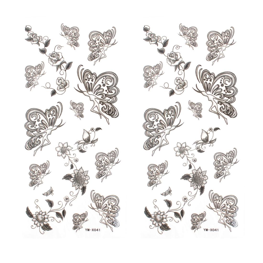 Black Butterfly Pattern Waterproof Temporary Tattoo Transfer Sticker 2 Pcs