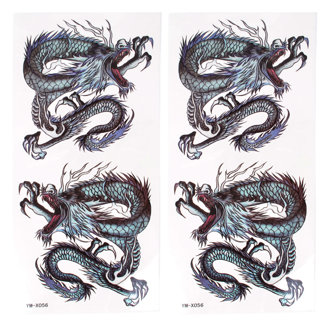 Skin Embellish Black Dragon Pattern Temporary Tattoo Transfer Sticker 2 Pcs