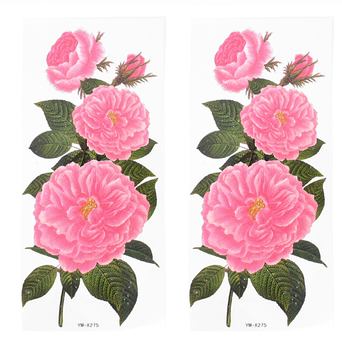 Skin Embellish Pink Peony Flower Pattern Temporary Tattoo Transfer Sticker 2 Pcs