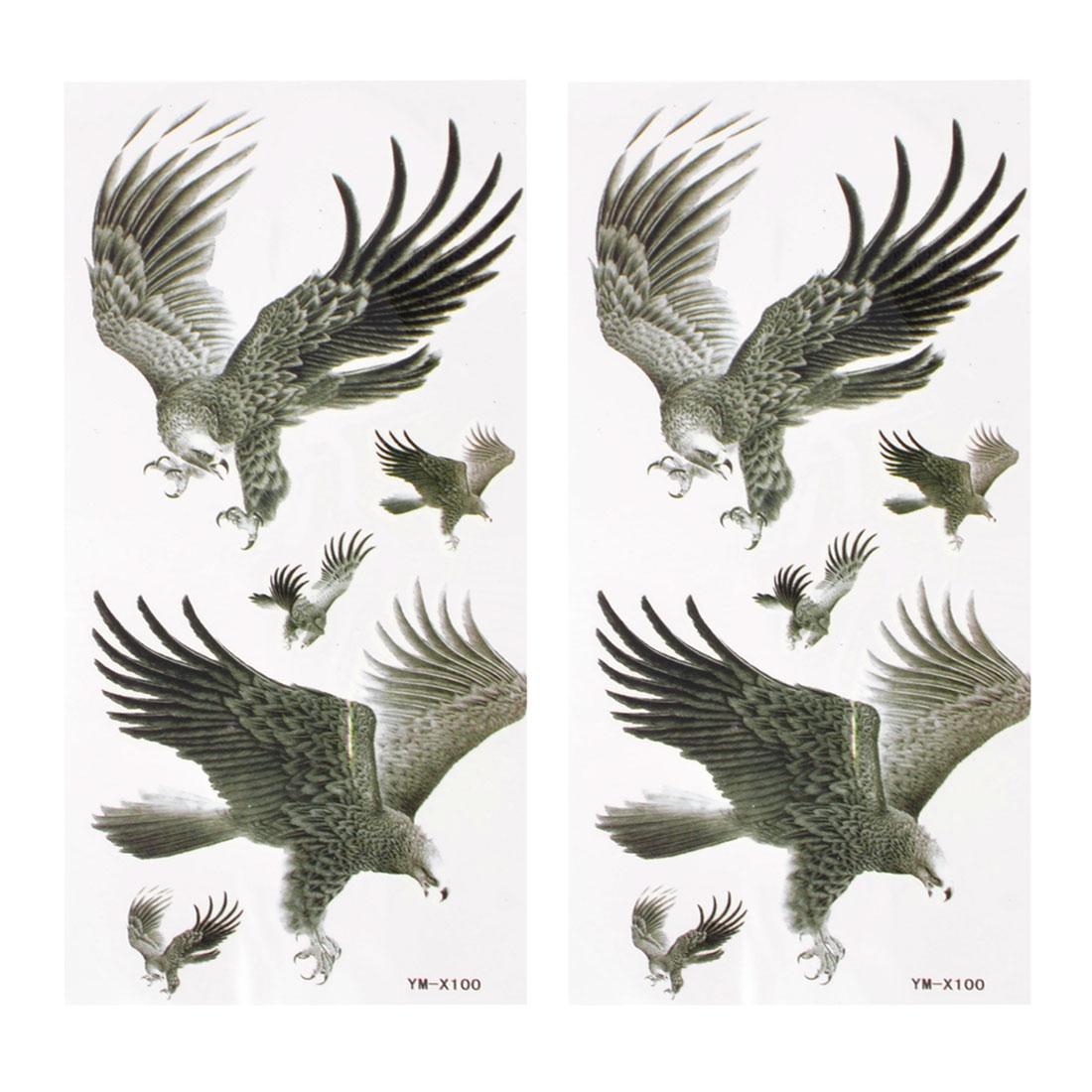 Body Art Black Eagle Pattern Temporary Tattoo Transfer Sticker 2 Pcs