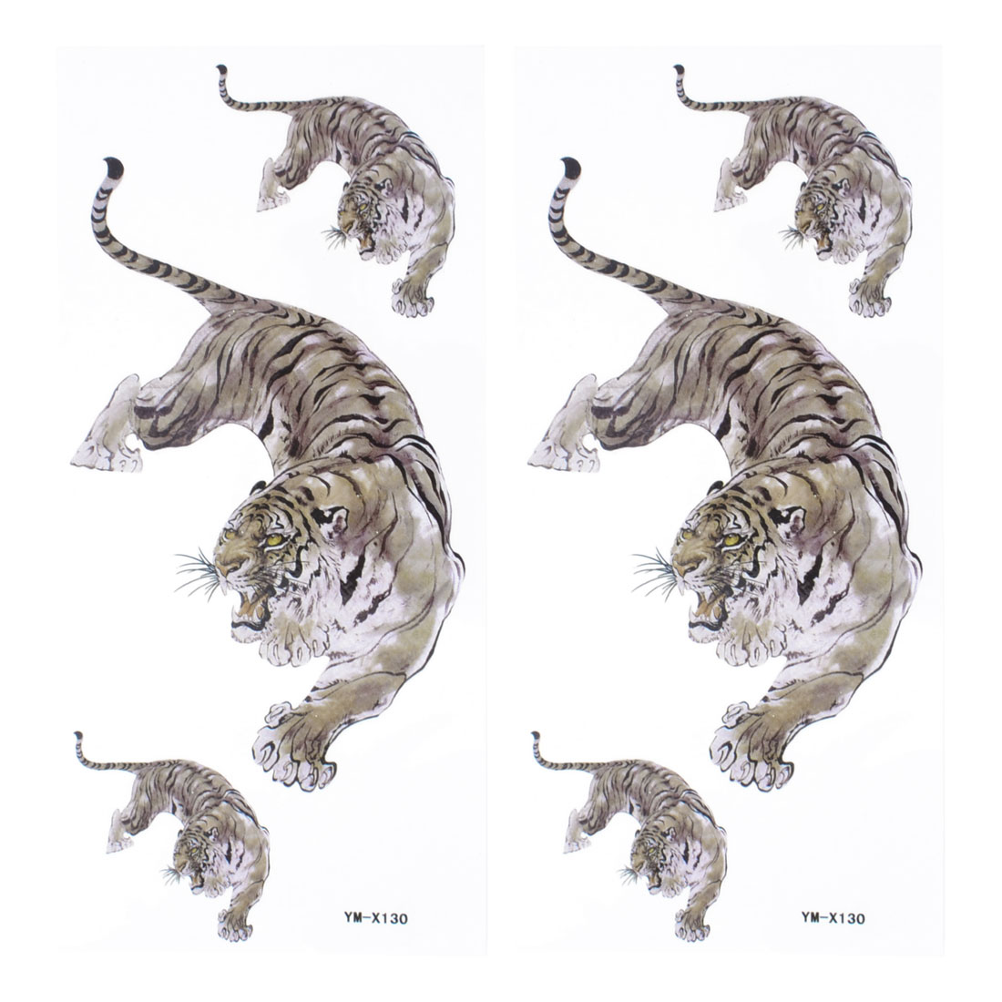 Brown Different Size Tiger Pattern Transferable Skin Tattoos Decals Stickers 2Pcs