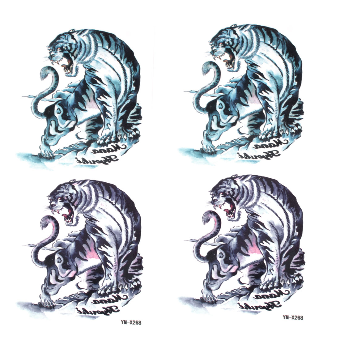 2pcs Dark Blue Tiger Print Temporary Transfer Tribal Tattoos Beauty Stickers