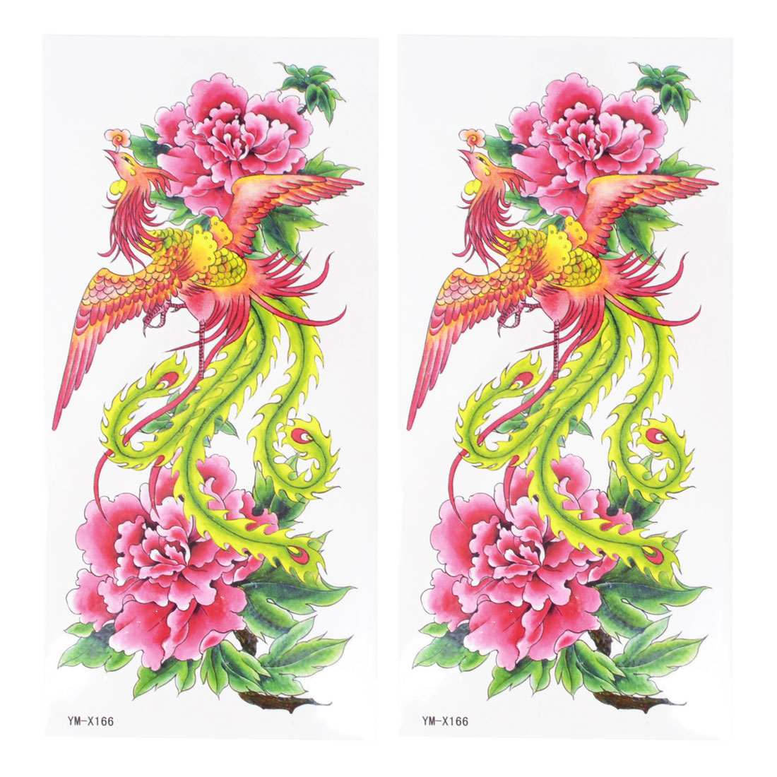 Pink Green Phoenix Peony Pattern Temporary Tattoo Transfer Sticker 2 Pcs