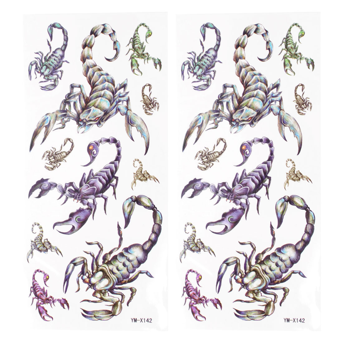 Body Art Black Scorpion Pattern Temporary Tattoo Transfer Sticker 2 Pcs