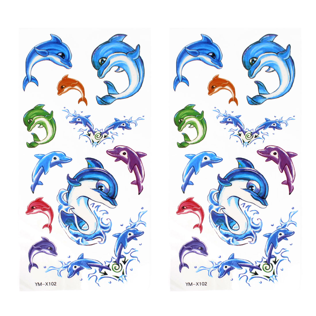 2 Pcs Car Auto Window Multicolor Dolphin Transferable Tribal Tattoos Stickers