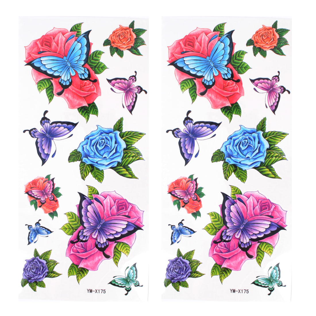 Colorful Butterfly Rose Pattern Temporary Tattoo Transfer Sticker 2 Pcs