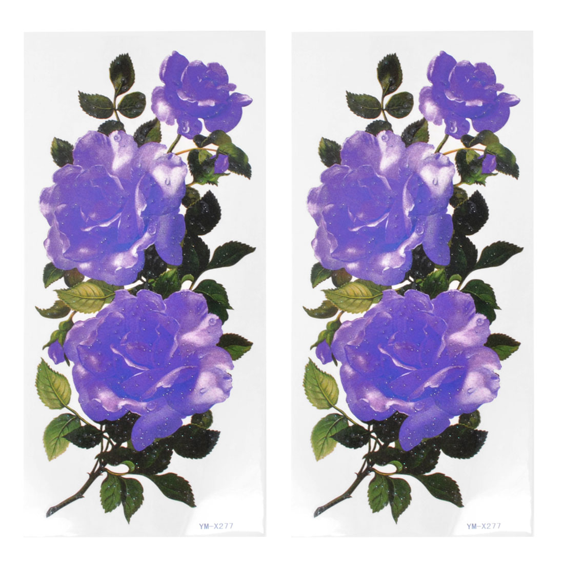 Skin Ornament Purple Flower Pattern Temporary Tattoo Transfer Sticker 2 Pcs