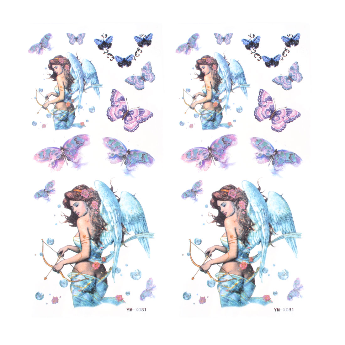 2pcs Skin Decorative Blue Purple Angel Butterfly Print Temporary Transfer Tattoos Sticker Beauty Tool