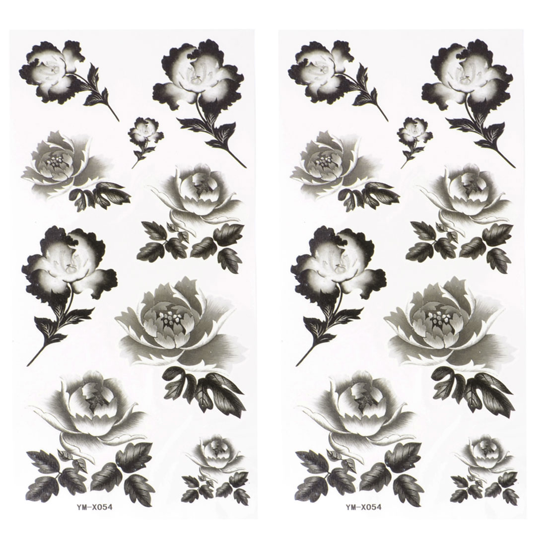 Black Peony Flower Print Temporary Tattoo Transfer Sticker Decoration 2 Pcs