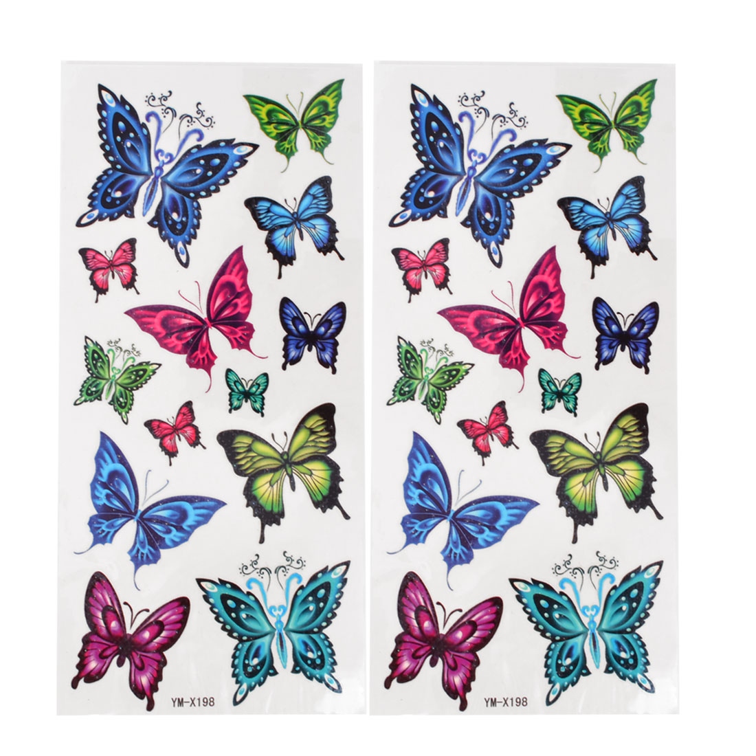 Butterfly Pattern Transfer Tribal Tattoos Sticker Skin Paster Tattooing Decals Colorful 2 Pcs