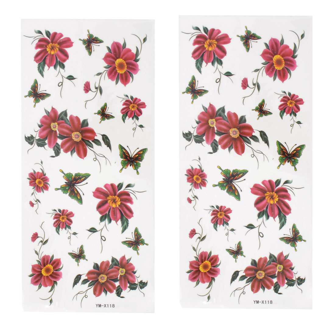 2 Pcs Car Auto Window Green Red Butterfly Printed Transferable Tattoos Stickers