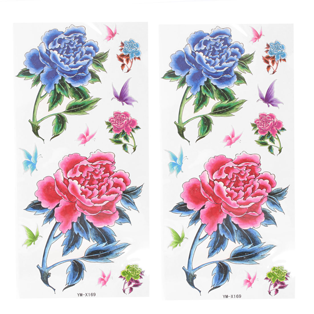 2Pcs Blue Red Butterfly Peony Flower Pattern Transfer Tattoos Stickers Decor