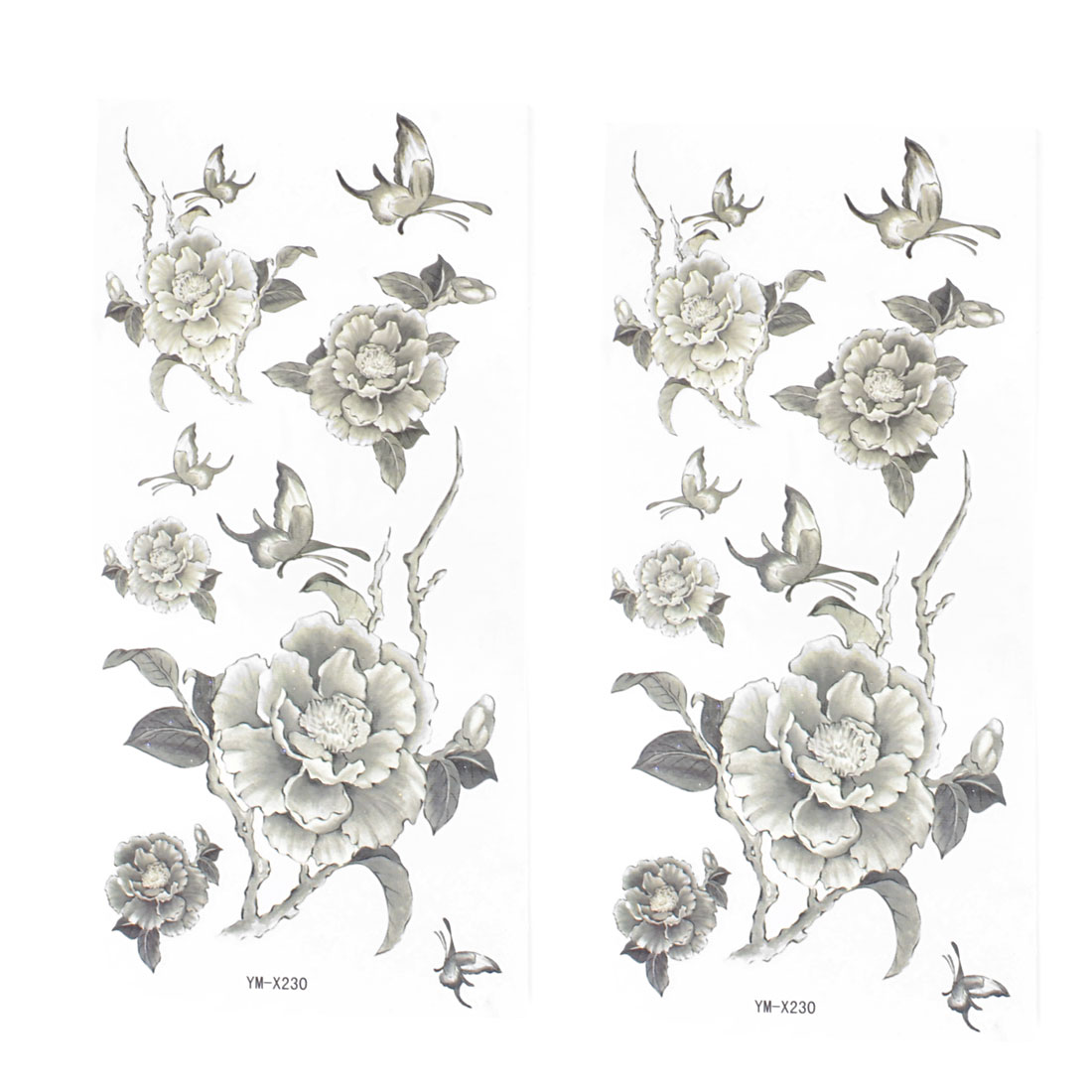 Skin Embellish Black Peony Flower Pattern Temporary Tattoo Transfer Sticker 2 Pcs