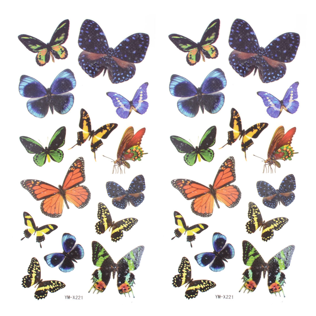 Colorful Butterfly Print Waterproof Temporary Tattoo Transfer Sticker Ornament 2 Pcs