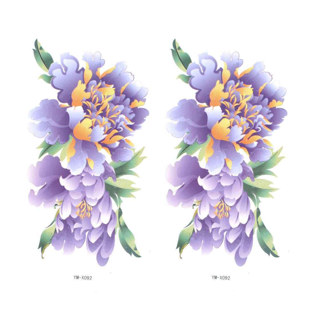 Skin Decorative Purple Floral Print Temporary Transfer Tattoo Stickers 2Pcs