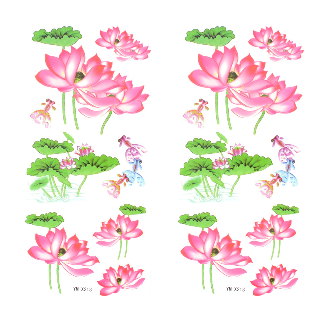 Skin Embellish Pink Lotus Flower Pattern Temporary Tattoo Transfer Sticker 2 Pcs
