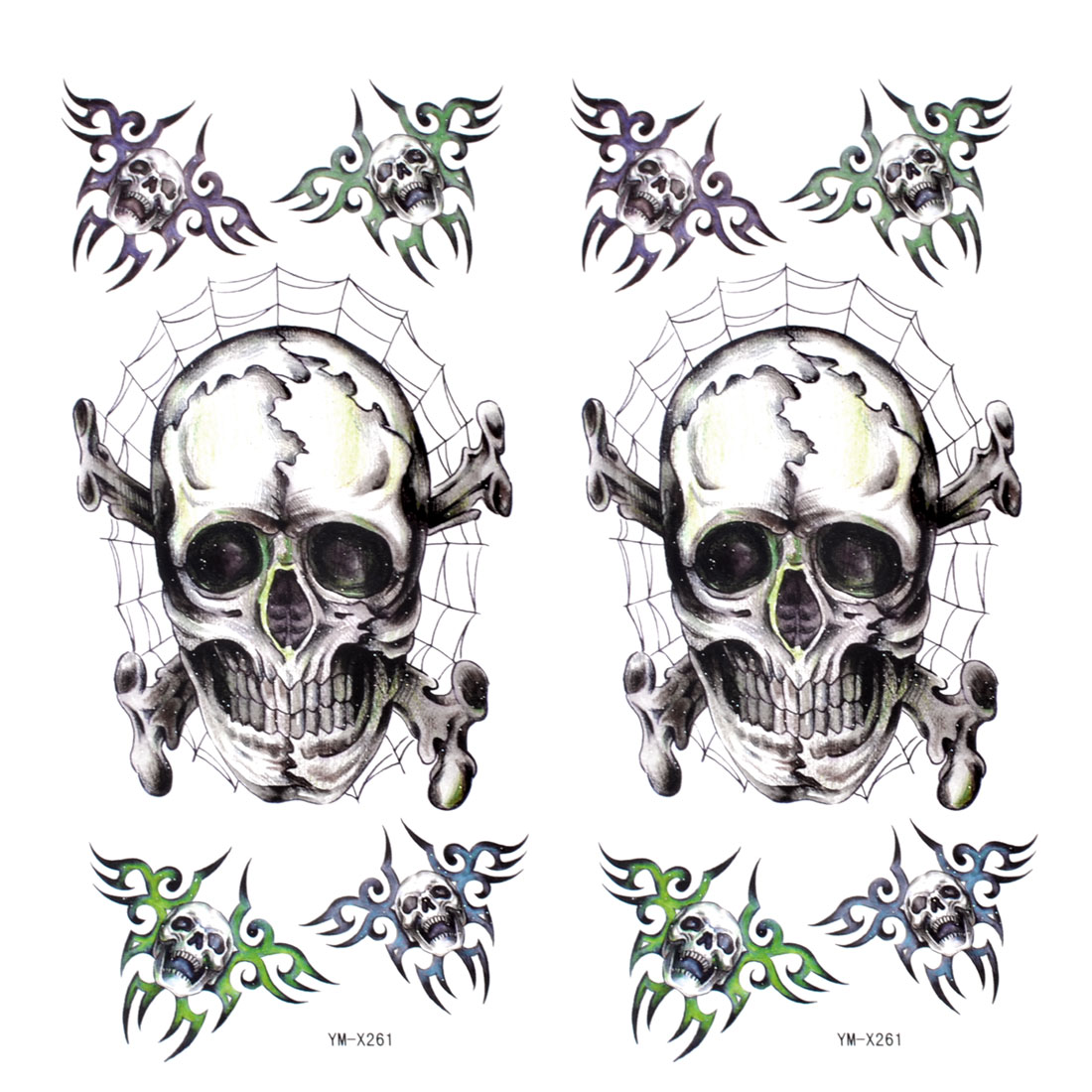 2 Pcs Dark Gray Skull Pattern Transfer Tribal Tattoos Skin Tattooing Decals