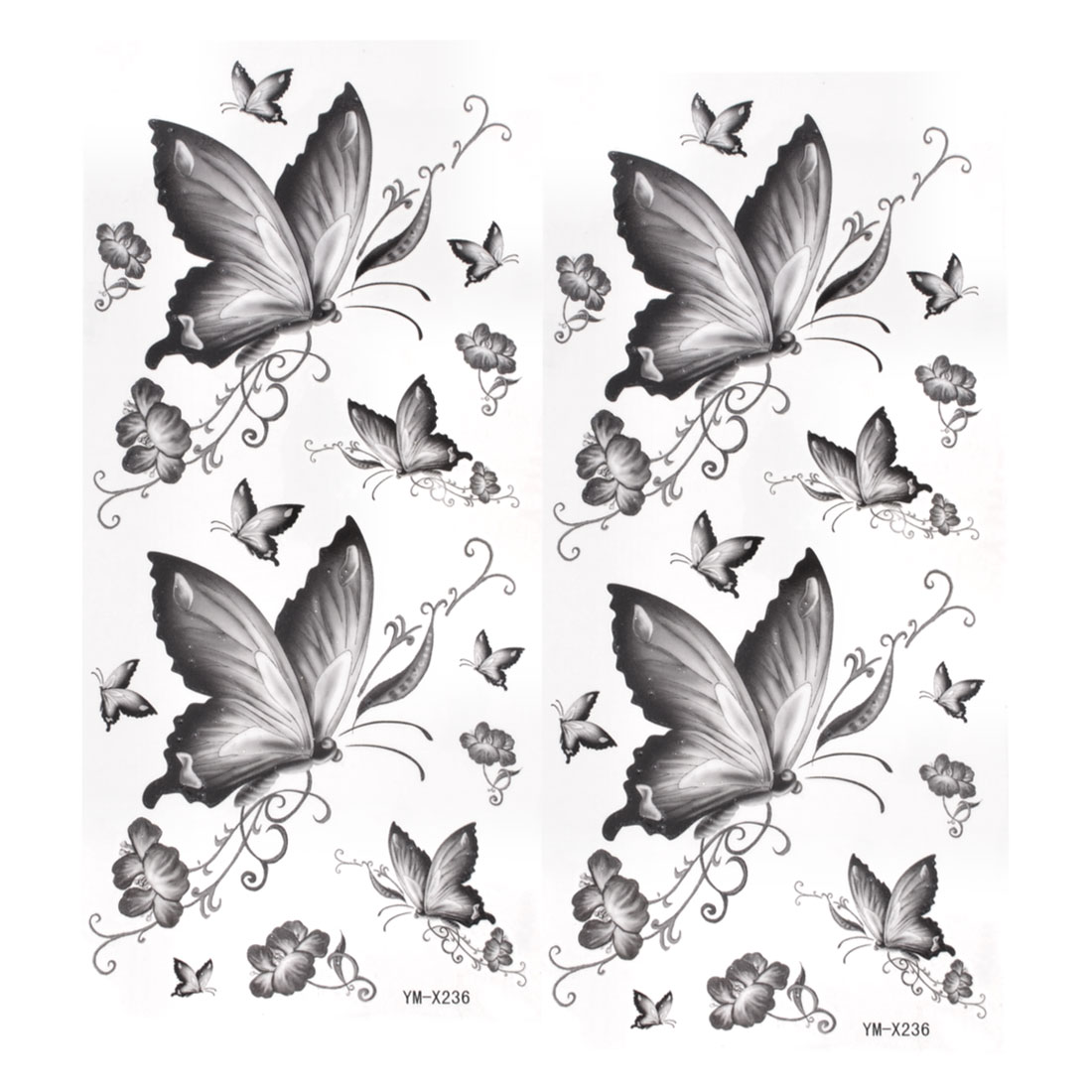 2pcs Dark Gray Butterfly Print Temporary Transfer Tribal Tattoos Beauty Stickers