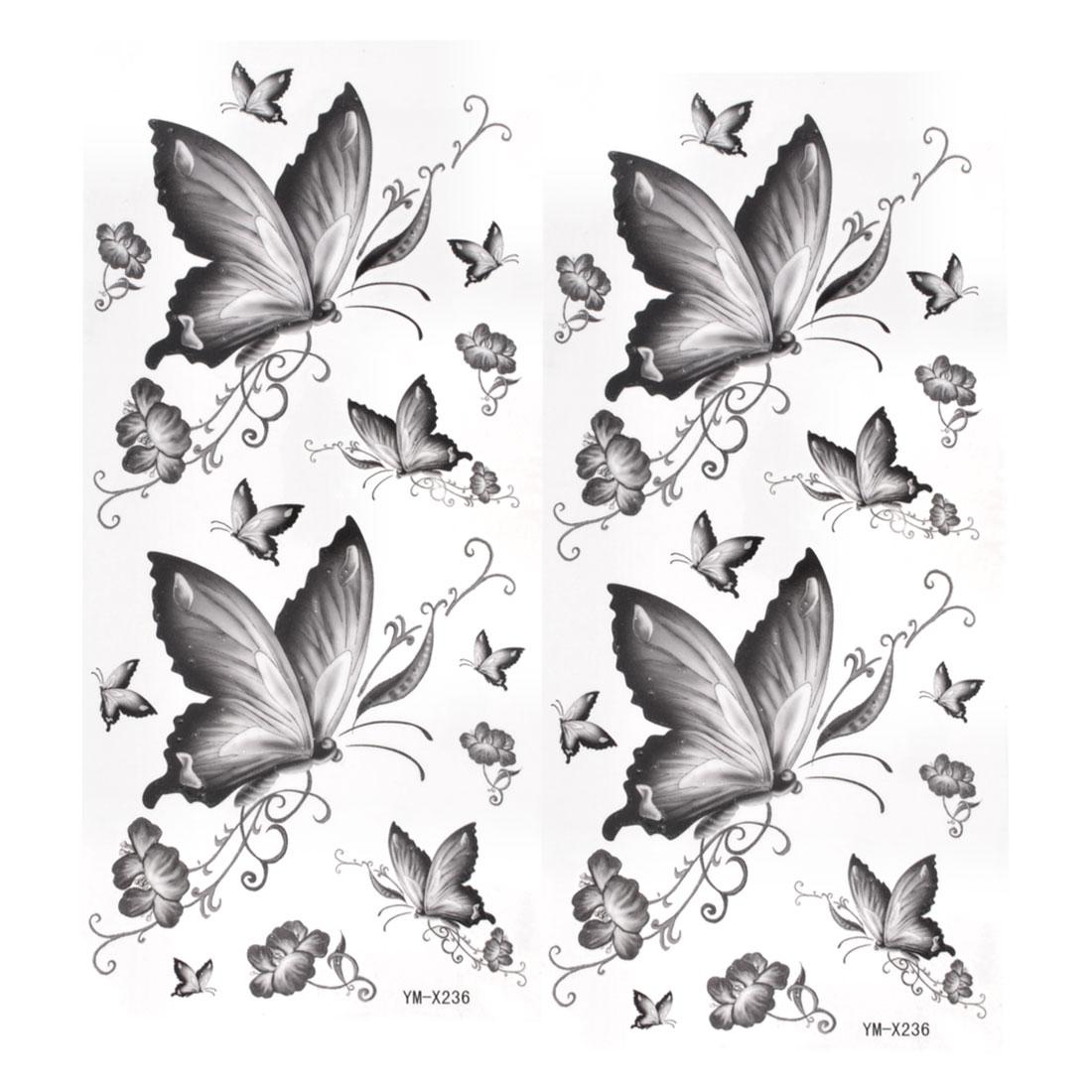 2pcs Dark Gray Butterfly Print Temporary Transfer Tribal Tattoos Beauty Stickers