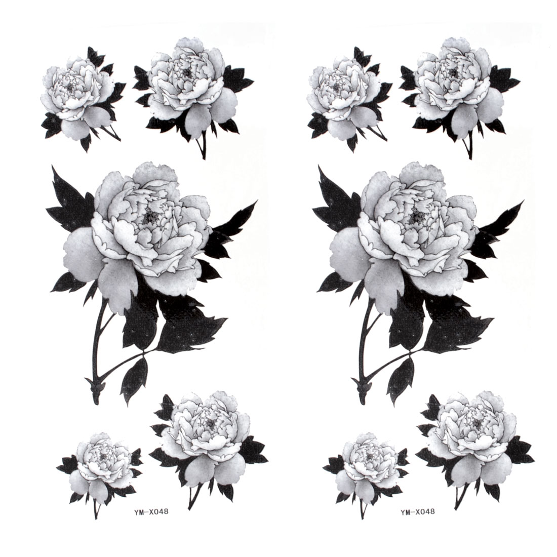 2 Pcs Car Auto Window Black Gray Rose Transferable Tribal Tattoos Stickers