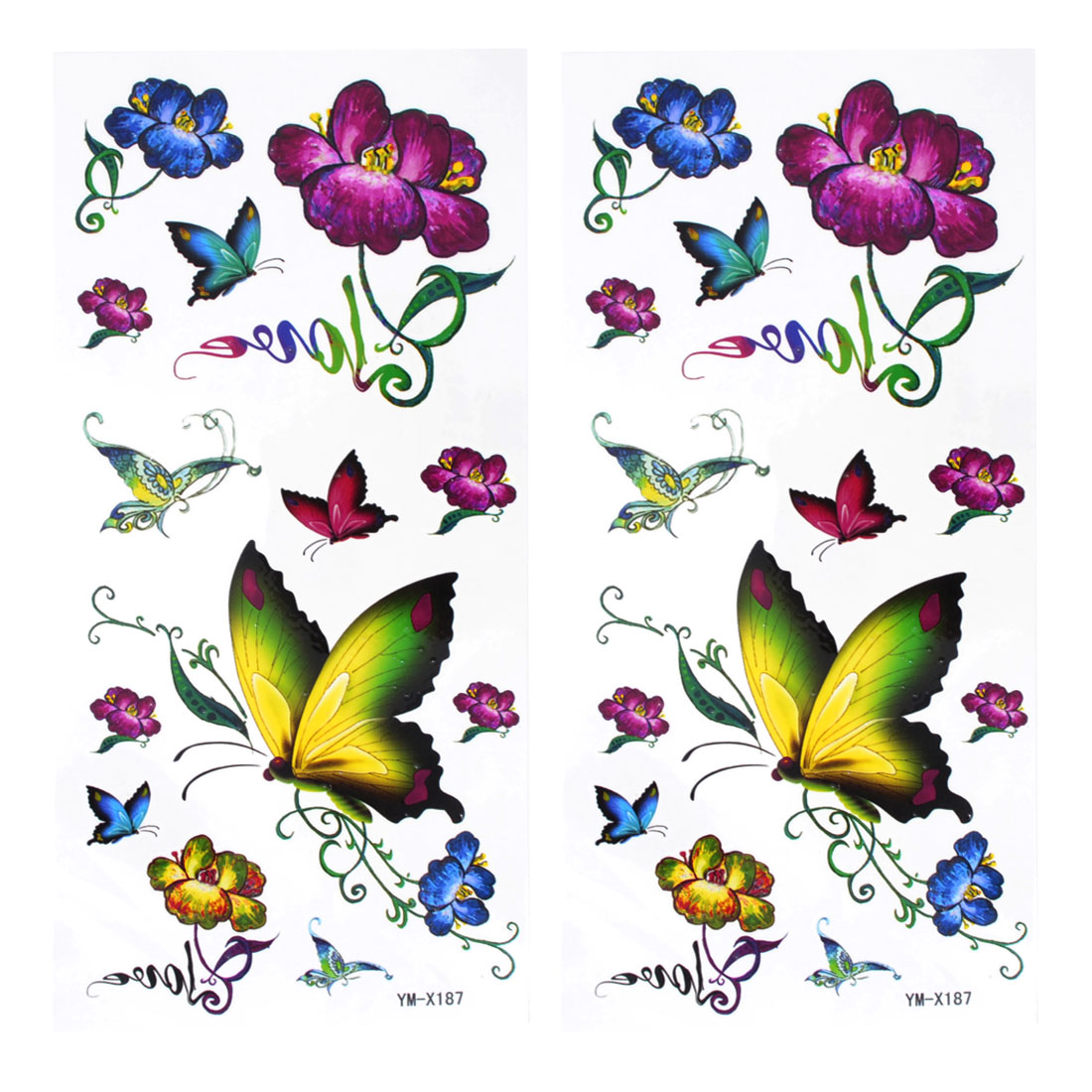 Multicolor Butterfly Floral Printed Temporary Transferable Tattoos Skin Decal Decoration 2 Pcs