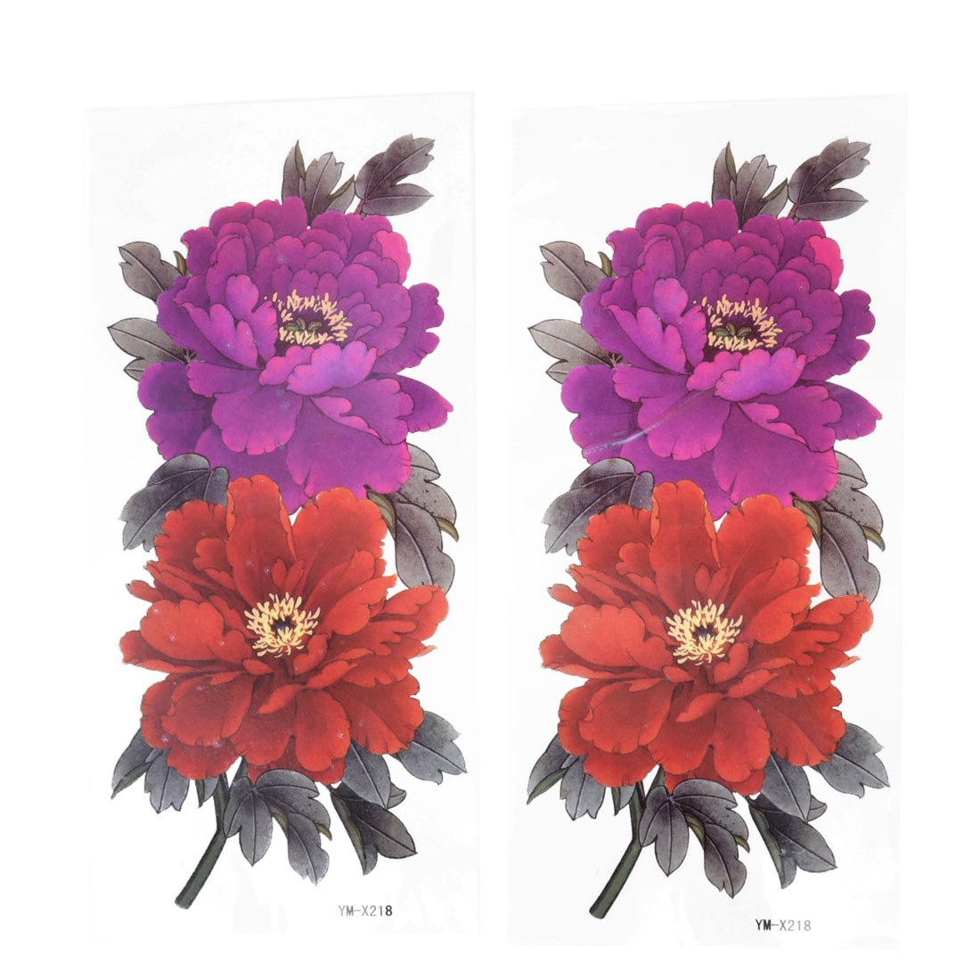 Skin Decor Fuchsia Orange Peony Flower Pattern Temporary Tattoo Transfer Sticker 2 Pcs